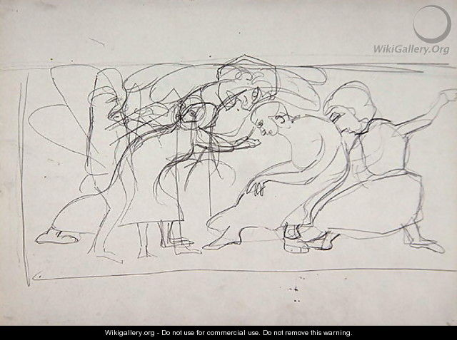 Study for Decorative Panel Worshippers for the Cave of the Golden Calf - Spencer Frederick Gore