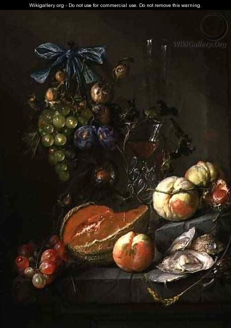 Still Life of Fruit and Oysters - Cornelis De Heem