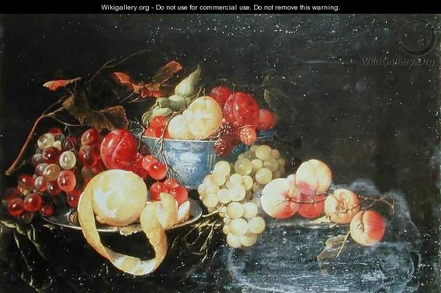 Still Life with Fruit in Delft Bowl Including a Peeled Orange - Cornelis De Heem