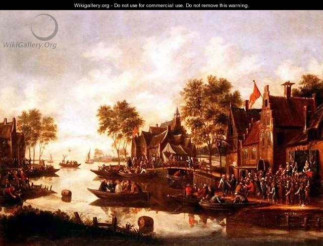 A village kermesse with players on a stage by an inn and men drinking in boats - Thomas Heeremans