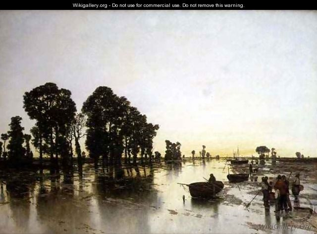 An extensive flooded landscape with peasants - Karl Heffner
