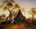 Sheiks drinking Coffee in Front of a Tent - Joseph Heicke