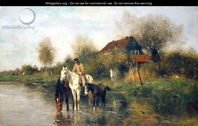 Horses at Water - Thomas Ludwig Herbst