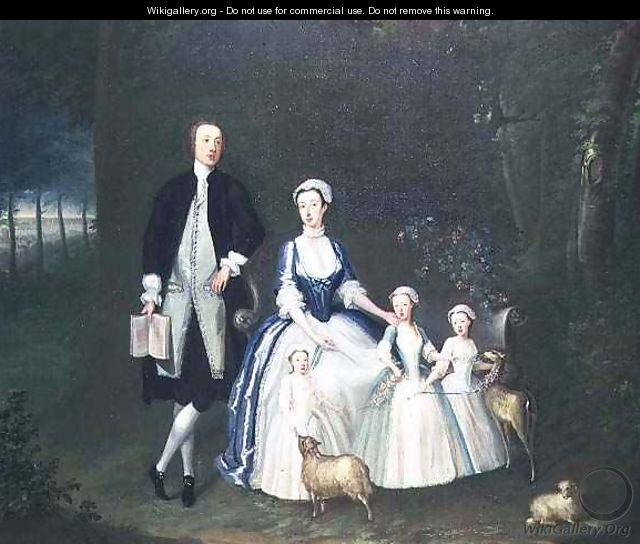 Baptist Noel 4th Earl of Gainsborough and His Wife Elizabeth with their Children - William Henesy