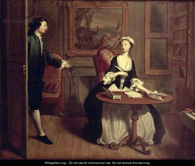 Mr B finds Pamela writing illustration from Richardsons Pamela - Joseph Highmore