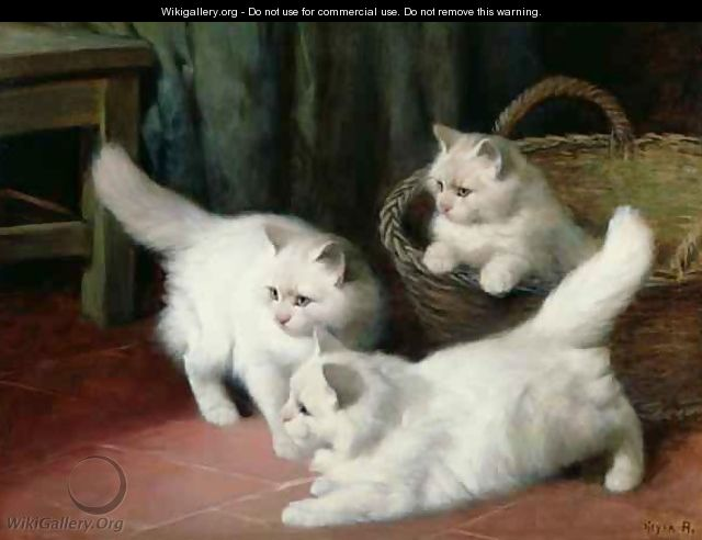 Three White Angora Kittens - Arthur Heyer