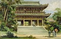 Buddhist temple at Kyoto Japan from The History of Mankind - (after) Heyn, Ernst