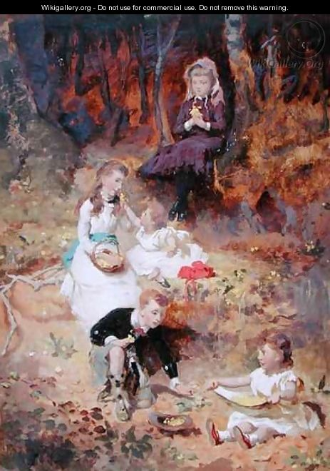 Five Children Playing in the Forest - George Elgar Hicks