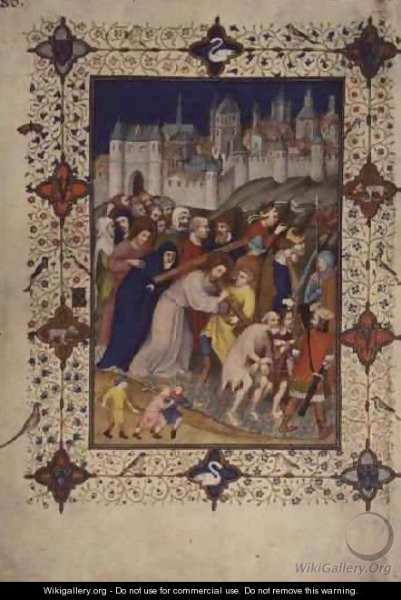 Hours of the Cross Sexte Christ Carrying the Cross from the Tres Riches Heures du Duc de Berry - Jacquemart De Hesdin
