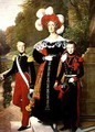 Marie Amelie of Bourbon Sicile 1782-1866 and her sons Henri of Orleans 1822-97 Duke of Aumale and Antoine 1824-90 Duke of Montpensier - Louis Hersent