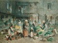 Market in the Town Square - Louis Adolphe Hervier