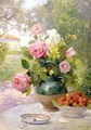 Still life of Roses and Strawberries - Felix Hippolyte-Lucas