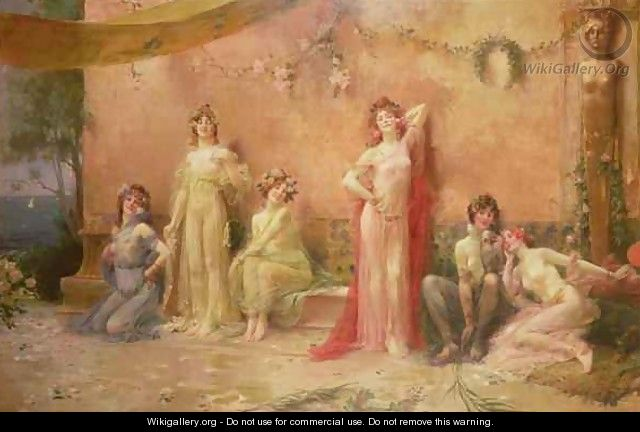 The Temptresses Before a Wall Covered with Graffiti - Felix Hippolyte-Lucas