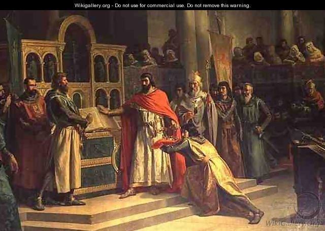 The Oath of Santa Gadea El Cid Campeador extracts an oath from Alfonso VI the King of Castille that in the Year 1072 he had no part in the murder of his brother Sancho II - Marcos Hiraldez de Acosta