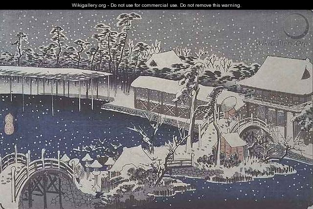 Snow at night a scene depicting a house river and ornamental garden under falling snow from the series 53 Stations of the Tokaido - Utagawa or Ando Hiroshige