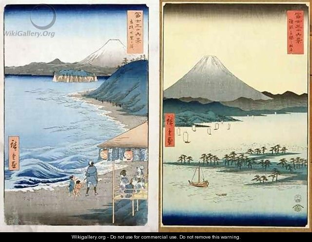 Mountains and coastline two views from 36 Views of Mount Fuji - Utagawa or Ando Hiroshige
