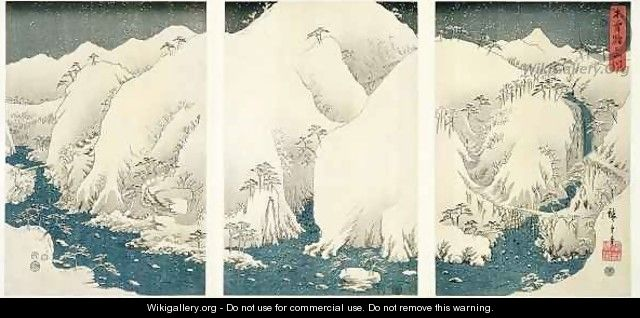 Snow storm in the mountains and rivers of Kiso - Utagawa or Ando Hiroshige