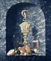 Still Life with Decorated Goblet Fruit and Glasses in a Stone Alcove - Johann Georg (also Hintz, Hainz, Heintz) Hinz