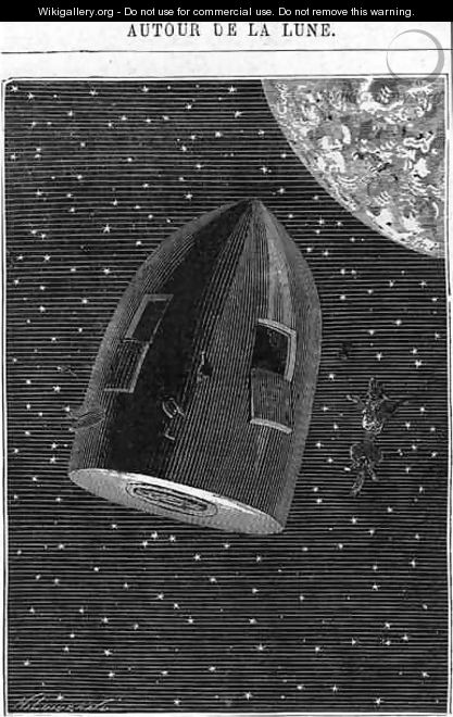 Leaving for the Moon illustration from Around the Moon by Jules Verne 1828-1905 Paris Hetzel - Henri Theophile Hildibrand