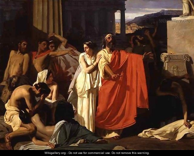 Oedipus and Antigone being exiled to Thebes - Eug  232 ne-Ernest    Oedipus And Antigone
