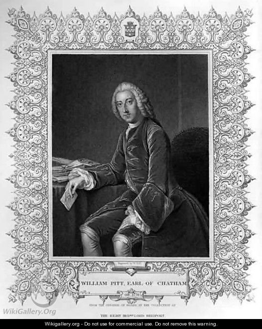 Portrait of William Pitt 1st Earl of Chatham - (after) Hoare, William, of Bath