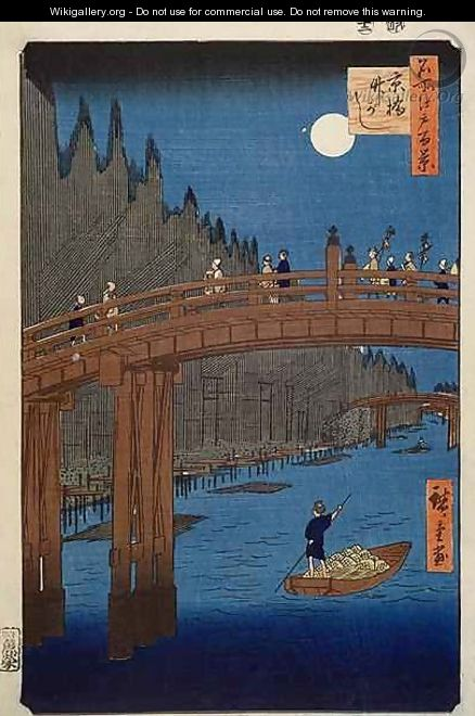 Kyoto bridge by moonlight from the series 100 Views of Edo - Utagawa or Ando Hiroshige