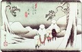 Travellers in the Snow at Oi from the series 69 Stations of Kisokaido - Utagawa or Ando Hiroshige