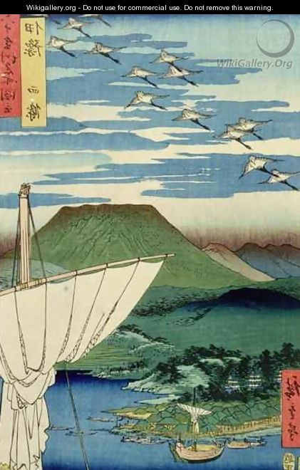 Boats village and castle at Ueno Iyo Province from Famous Places of the Sixty Provinces - Utagawa or Ando Hiroshige