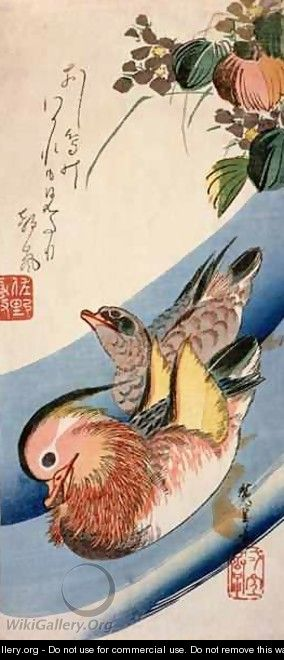 Two Mandarin Ducks - Utagawa or Ando Hiroshige