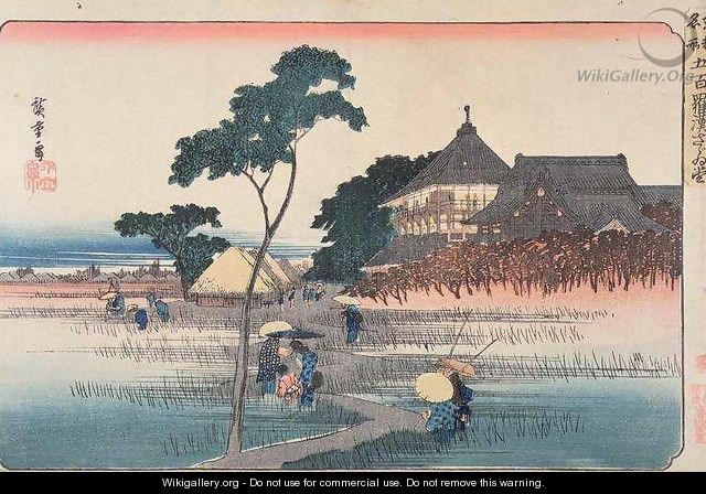 The Spiral Hall of the Temple of the Five Hundred Arhats from the series Famous Places in Edo - Utagawa or Ando Hiroshige