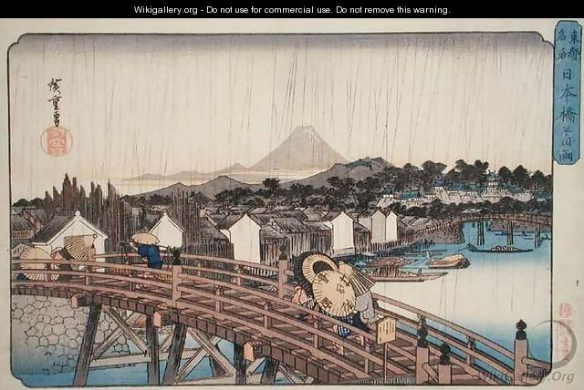 Evening Shower at Nihonbashi Bridge from Celebrated Places of the Eastern Capital - Utagawa or Ando Hiroshige
