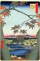 Maple Trees at Mam Tekona Shrine and Linked Bridge - Utagawa or Ando Hiroshige