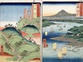 A landscape and seascape two views from the series 60 Odd Famous Views of the Provinces - Utagawa or Ando Hiroshige