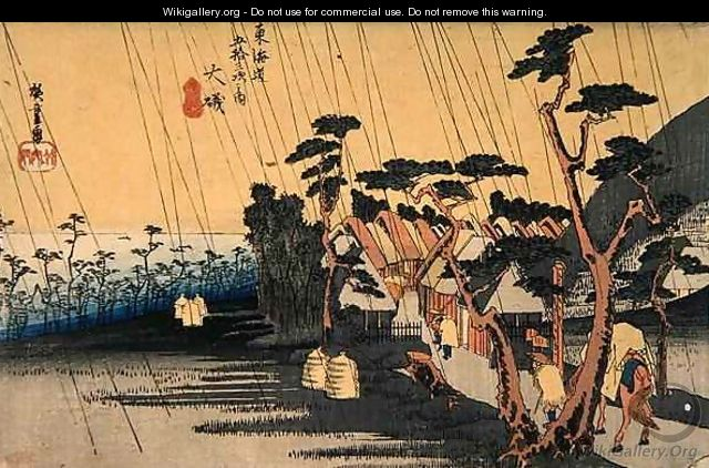 Sudden Shower Oiso from the series Fifty three Stations of the Tokaido Highway - Utagawa or Ando Hiroshige