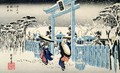 Snow at night young women leave a temple in heavy falling snow from the series 53 Stations of the Tokaido - Utagawa or Ando Hiroshige