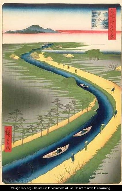 Towboats Along the Yotsugi dori Canal plate 33 from the series One Hundred Famous Views of Edo Edo Period Ansei Era - Utagawa or Ando Hiroshige