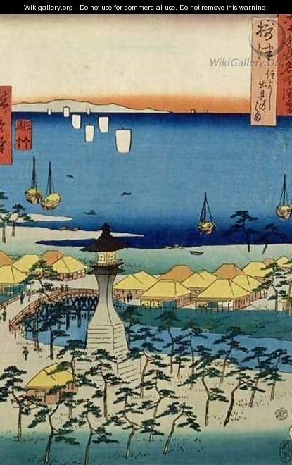 The Shore at Sumiyoshi showing the Village and Lighthouse Settsu Province from Famous Places of the Sixty Provinces - Utagawa or Ando Hiroshige