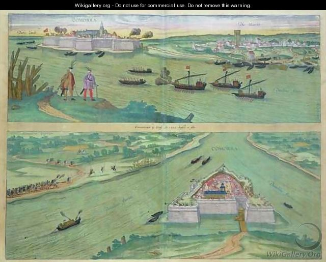 Two Views of Comorra from Civitates Orbis Terrarum - (after) Hoefnagel, Joris