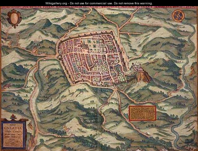 Map of Caiazzo from Civitates Orbis Terrarum - (after) Hoefnagel, Joris