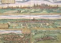 Map of Nuremberg Ulm and Saltzburg from Civitates Orbis Terrarum - (after) Hoefnagel, Joris