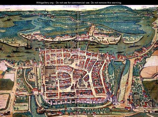 Map of Altenstadt from Civitates Orbis Terrarum - (after) Hoefnagel, Joris