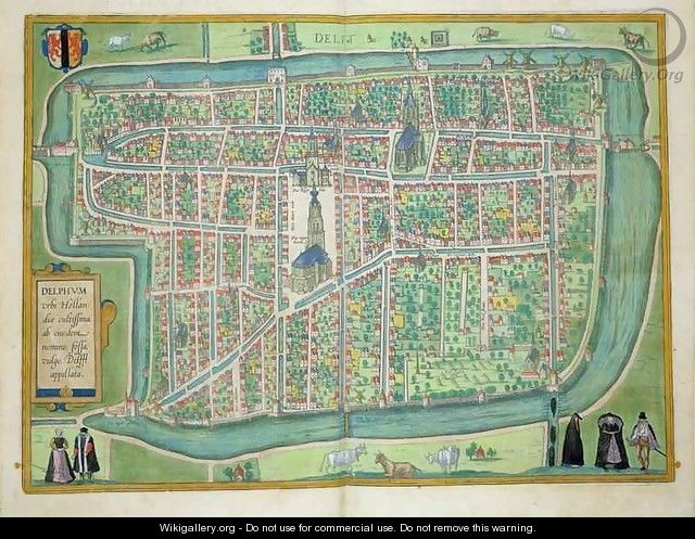 Map of Delft from Civitates Orbis Terrarum - (after) Hoefnagel, Joris