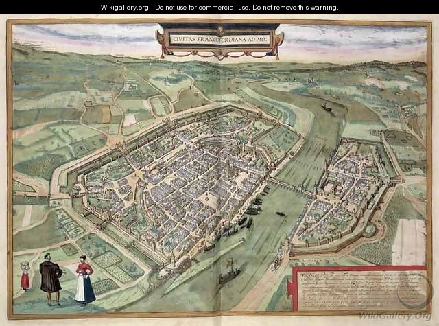 Map of Frankfurt from Civitates Orbis Terrarum - (after) Hoefnagel, Joris