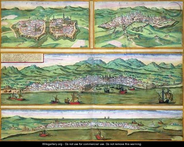 Map of Parma Siena Palermo and Drepanum from Civitates Orbis Terrarum - (after) Hoefnagel, Joris