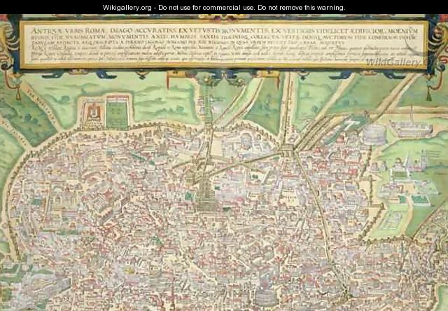 Map of Rome from Civitates Orbis Terrarum 4 - (after) Hoefnagel, Joris