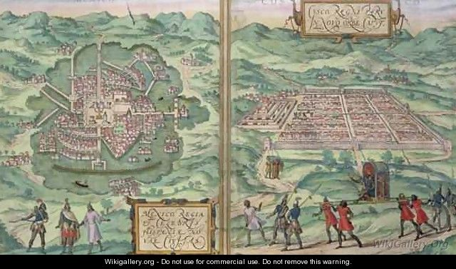 Map of Mexico and Cuzco from Civitates Orbis Terrarum - (after) Hoefnagel, Joris