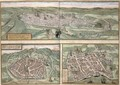 Town Plans of Rouen Nimes and Bordeaux from Civitates Orbis Terrarum - (after) Hoefnagel, Joris