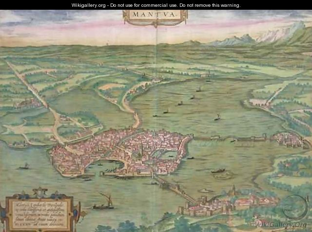 Map of Mantua from Civitates Orbis Terrarum - (after) Hoefnagel, Joris