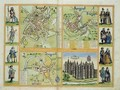 Maps of York Shrewsbury Lancaster and Richmond from Civitates Orbis Terrarum - (after) Hoefnagel, Joris