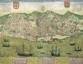 Map of Lisbon from Civitates Orbis Terrarum - (after) Hoefnagel, Joris